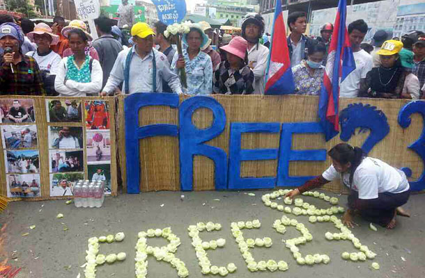 CAMBODIAN COURT CONVICTS, THEN RELEASES PROTESTORS