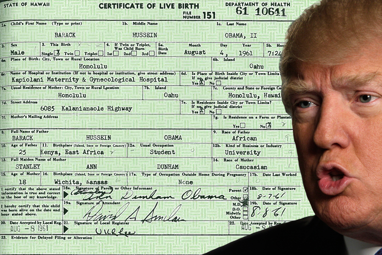 Donald Trump Obama Birth Certificate