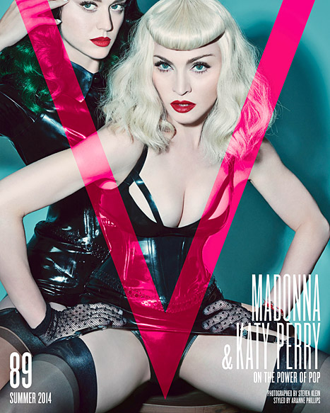 Cover girls Katy Perry and Madonna pose provocatively in leather outfits for V Magazine's Summer 2014 issue. Credit: Steven Klein
